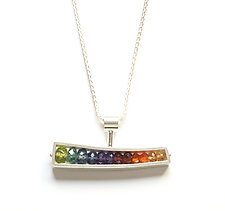 Horizontal Wedge Necklace by Ashka Dymel (Silver & Stone Pendant)