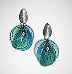 Aqua Blossom Earrings by Carol Windsor (Silver & Paper Earrings)