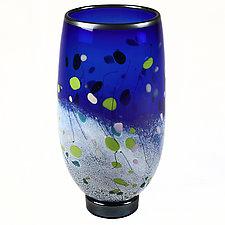 Cobalt Cascade Studio Sample by Eric Bladholm (Art Glass Vase)
