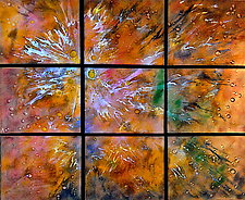 A New Day in Nine Panels by Cynthia Miller (Art Glass Wall Sculpture)