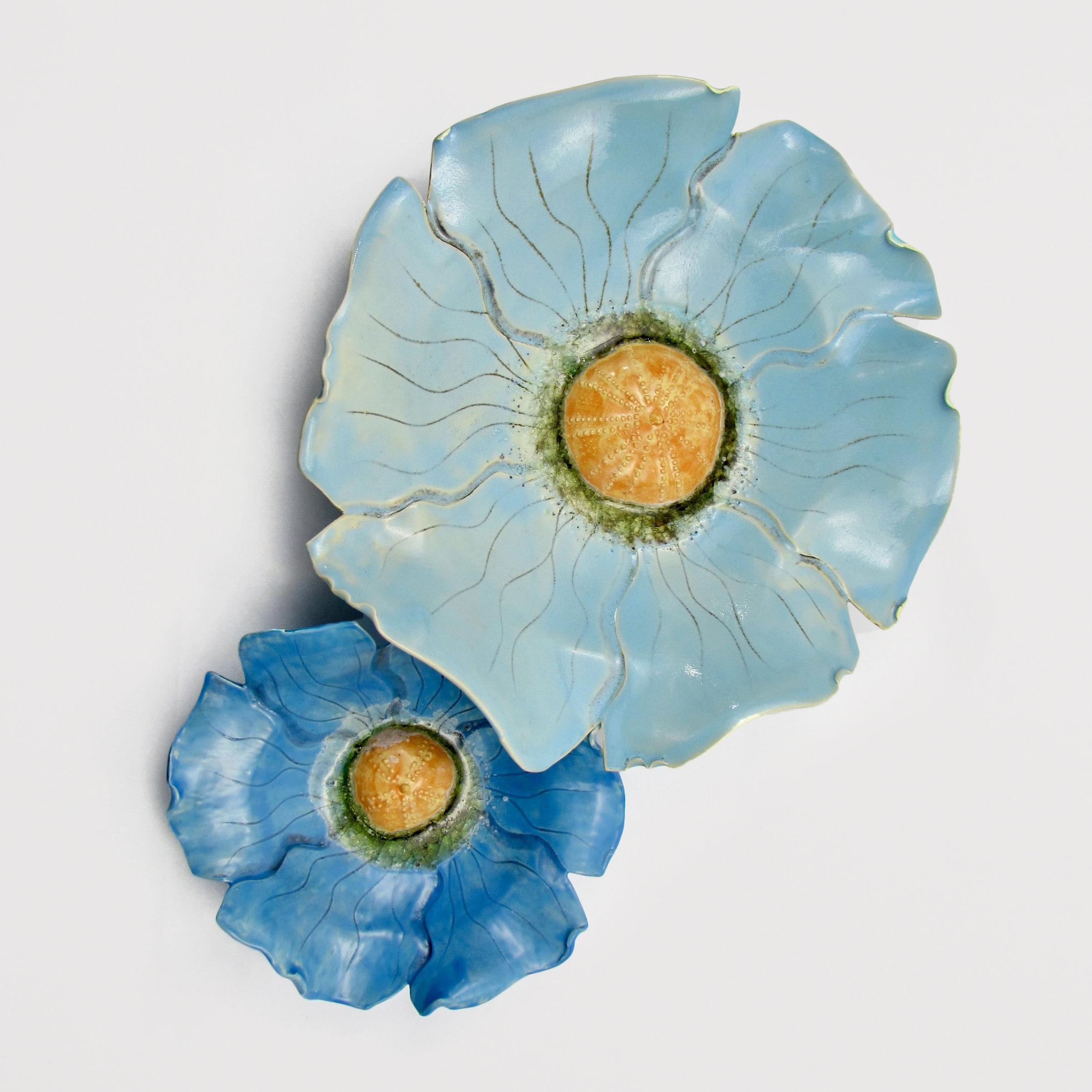 Blue Poppies For Sandra By Amy Meya Ceramic Wall