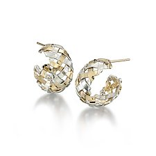 18K on Sterling Hand-Woven Hoops by Gabriel Ofiesh (Gold & Silver Earrings)