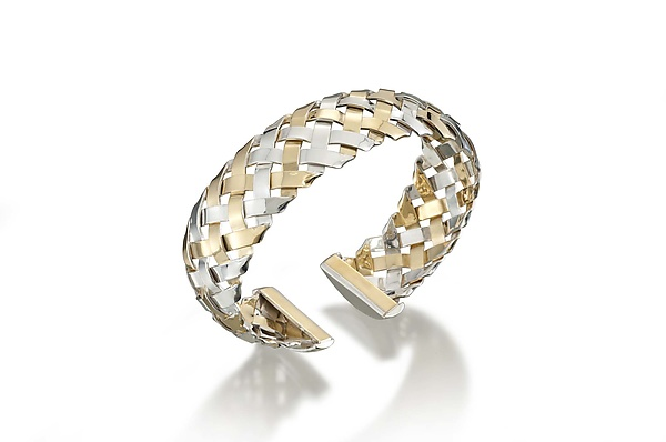 18K on Sterling Hand-Woven Cuff
