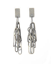 Carved Oval Tangle Earrings by Heather Guidero (Silver Earrings)