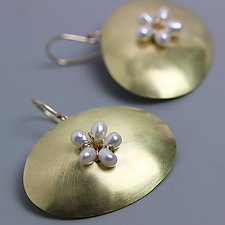 Gold Oval with Pearl Flower Earrings by Wendy Stauffer (Gold, Silver & Pearl Earrings)