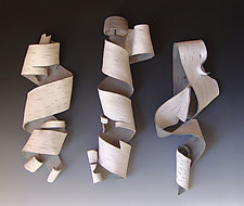Furls in White by Lenore Lampi (Ceramic Wall Sculpture)