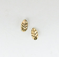 Small Wonders Gold Leaf Studs by Julie Long Gallegos (Gold Earrings)