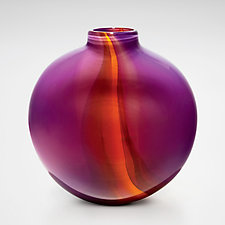 Opaque Ribbon Flat Vase in Violet, Pink & Orange by Michael Trimpol and Monique LaJeunesse (Art Glass Vase)