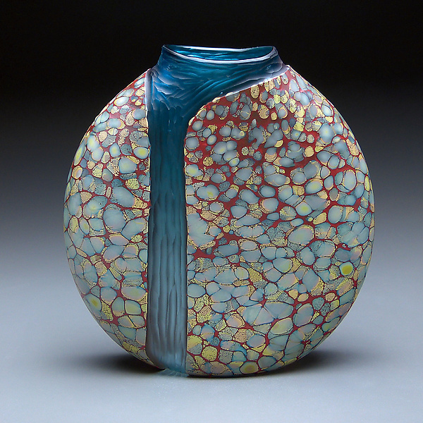 Sandy Cascade Vase with Copper Blue