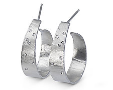 Wafer-Texture Hoops with Diamonds by Ayesha Mayadas (Silver Earrings)
