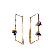 Reveal Parallelogram Post Earrings by Hsiang-Ting  Yen (Gold, Silver & Enamel Earrings)