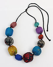 Rainbow Silk Kantha Convertible Necklace by Mieko Mintz (Silk Necklace)