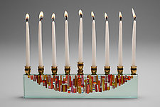 Ruby Sunset Icicle Menorah by Alicia Kelemen (Art Glass Menorah)