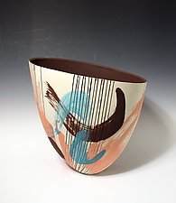 Abstract Coral and Turquoise Paint-Stroke Tall Vase with Line Pattern and Brown Interior by Jean Elton (Ceramic Vase)