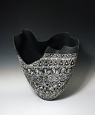 Matte Black and White Sculpted Tall Vase with Intricate Patterns and Large Cutout by Jean Elton (Ceramic Vase)