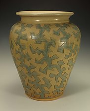 Puzzle Vessel with Neutral and Blue Ash Glazes by Lance Timco (Ceramic Vessel)
