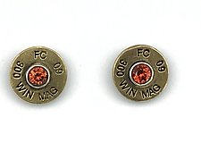 Peace Fire with Spessartite Garnet Earrings by Alexan Cerna and Gina  Tackett (Brass & Stone Earrings)
