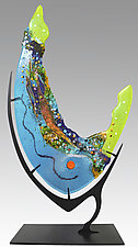 Turquoise Geode by Karen Ehart (Art Glass Sculpture)