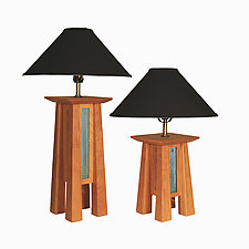 Prairie Lamp in Cherry with Black Linen Shade by Desmond Suarez (Wood Table Lamp)