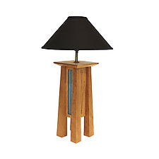 Tall Prairie Lamp in Cherry with Black Linen Shade by Desmond Suarez (Wood Table Lamp)