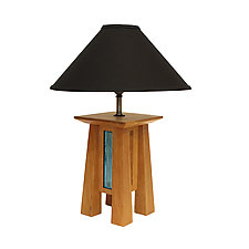 Short Prairie Lamp in Cherry with Black Linen Shade by Desmond Suarez (Wood Table Lamp)