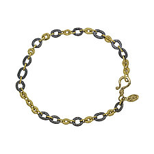 Open Pebble Link Bracelet by Rona Fisher (Gold & Silver Bracelet)