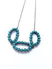 Turquoise Three-Leaf Necklace by Priya Himatsingka (Silver & Stone Necklace)
