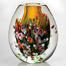 Wildflowers Vessel by Shawn Messenger (Art Glass Vessel)