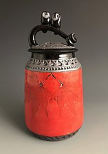 Double Owl Lidded Vessel by Suzanne Crane (Ceramic Vessel)