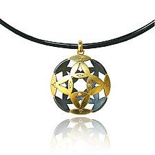 Moire Flower Pendant by Keiko Mita (Gold, & Stone Pendant)