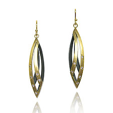 Moiré Willow Earrings by Keiko Mita (Gold & Silver Earrings)