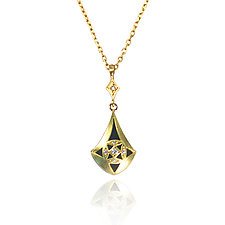Moiré Teardrop Pendant by Keiko Mita (Gold, Silver & Stone Necklace)