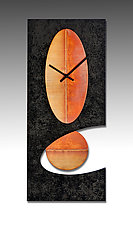 Black Oval Pendulum Clock by Leonie  Lacouette (Metal & Wood Clock)