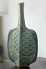 Bottle with Multiple Carvings by Jim and Shirl Parmentier (Ceramic Vase)