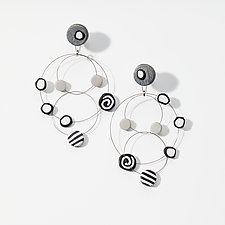 Chandelier Wire Black Mix I by Arden Bardol (Steel & Polymer Clay Earrings)