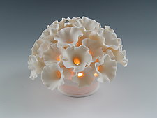 Flowers Coral Tea Light by Lilach Lotan (Ceramic Candleholder)