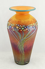 Large Peach Vines Classic Vase by Ken Hanson and Ingrid Hanson (Art Glass Vase)