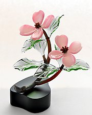 Pink Dogwood Double Blossoms by Hung Nguyen (Art Glass Sculpture)