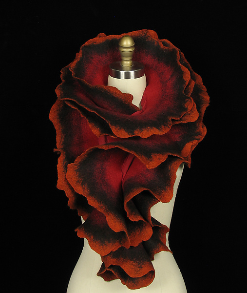 Large Rose Scarf in Red, Black, and Orange