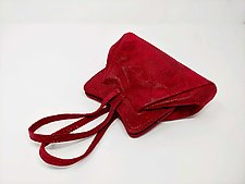 Halle Evening Bag in Fuchsia Wave Lamb by Michelle  LaLonde (Leather Purse)