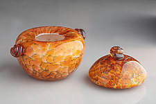 Salmon Brown Cookie Jar with Lid and Handles by The Glass Forge (Art Glass Cookie Jar)
