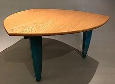 Oak Tripod Coffee Table by Peter F. Dellert (Wood Coffee Table)