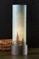Luminaire Table Lamp with Tube Shade in Midnight Sky by Janna Ugone (Mixed-Media Table Lamp)