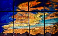 Sunset in Twelve Panels by Cynthia Miller (Art Glass Wall Sculpture)