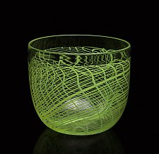 Green Folded Web Bowl by James Friedberg (Art Glass Bowl)