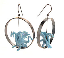 Blue Dragon Earrings by Kristin Lora (Silver Earrings)