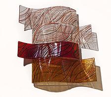 Autumn Waves #3 by Nina Falk (Art Glass Wall Sculpture)
