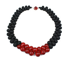 OvO Long Necklace in Black and Red by Alicia Niles (Glass Bead Necklace)