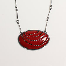 Red Oval Stitch Pendant by Lisa Crowder (Enameled Necklace)