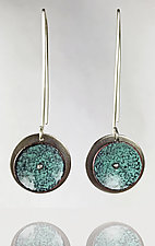 Concave Riveted Circle Earrings with Wire by Beth Novak (Silver & Enamel Earrings)